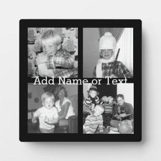 Cree un collage con 4 fotos - negro de Instagram Placa De Madera