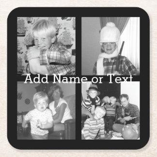 Cree un collage con 4 fotos - negro de Instagram Posavasos De Cartón Cuadrado