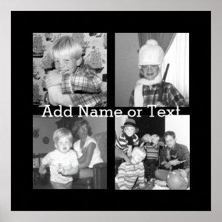 Cree un collage con 4 fotos - negro de Instagram Póster