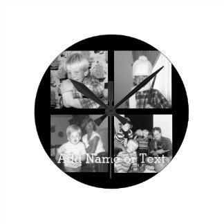 Cree un collage con 4 fotos - negro de Instagram Reloj Redondo Mediano