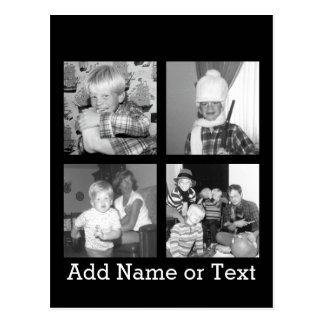 Cree un collage con 4 fotos - negro de Instagram Tarjeta Postal