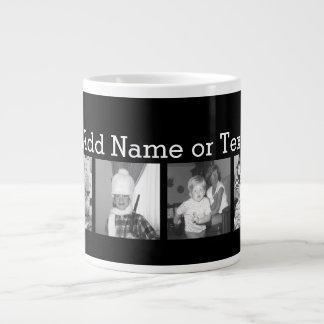 Cree un collage con 4 fotos - negro de Instagram Taza De Café Grande
