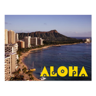 Cree una postal hawaiana de la foto de las vacacio