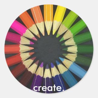Cree una vida colorida pegatina redonda