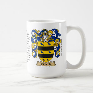 Creech, the Origin, the Meaning and the Crest Classic White Coffee Mug
