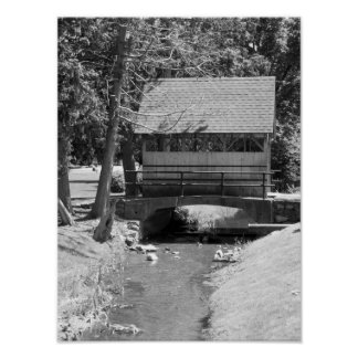 Creek And Covered Bridge Black And White Photo Poster