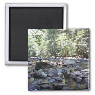 Creek and Rocks 2 Inch Square Magnet