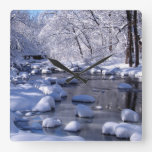 Creek in Winter Square Wall Clock