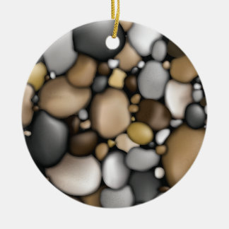 Creek Rocks Texture Double-Sided Ceramic Round Christmas Ornament