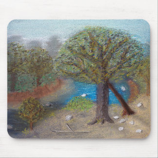 Creek with beach and trees mouse pads