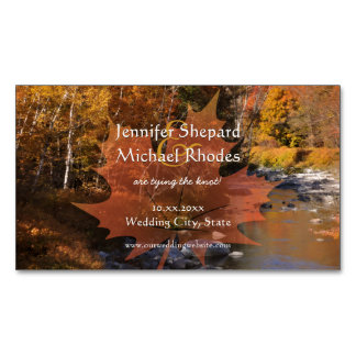 Creekside woods maple leaf autumn save the date business card magnet