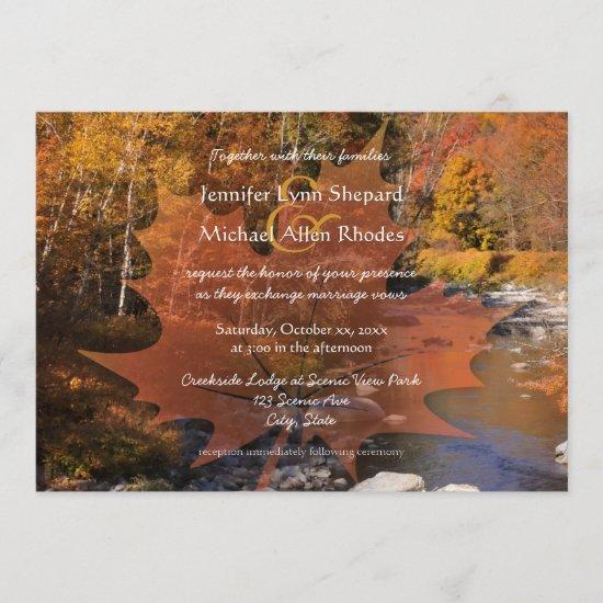 Creekside woods maple leaf autumn wedding invitation