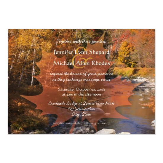Creekside woods maple leaf autumn wedding invitation