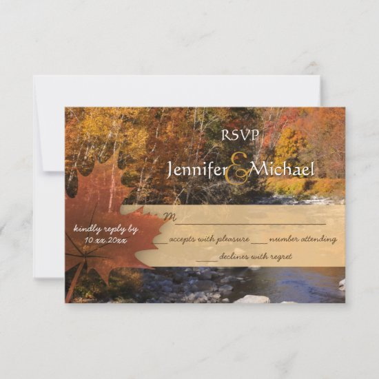 Creekside woods maple leaf autumn wedding RSVP