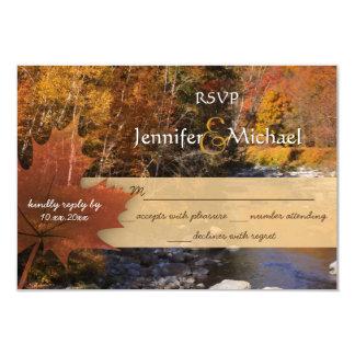 Creekside woods maple leaf autumn wedding RSVP Card