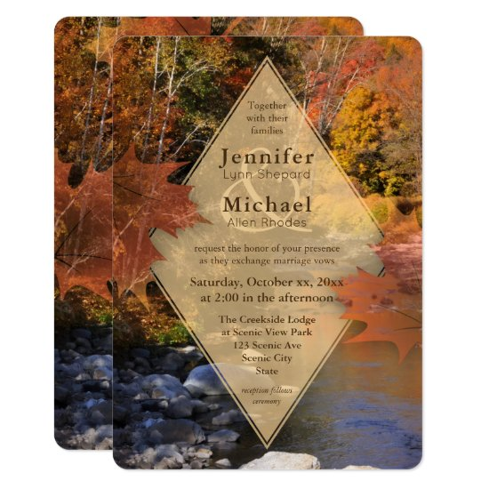 Creekside woods maple leaves autumn wedding invitation