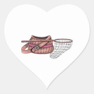 CREEL AND NET HEART STICKER