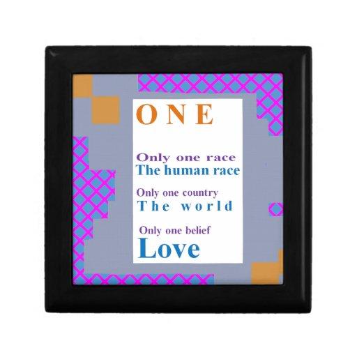 Creencias positivas:  Una personas, una raza, AMOR Caja De Regalo