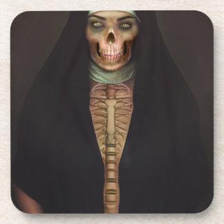 Creep Horror Nun Lady Skull Skeleton Beverage Coaster