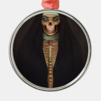 Creep Horror Nun Lady Skull Skeleton Metal Ornament