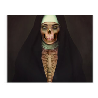 Creep Horror Nun Lady Skull Skeleton Postcard