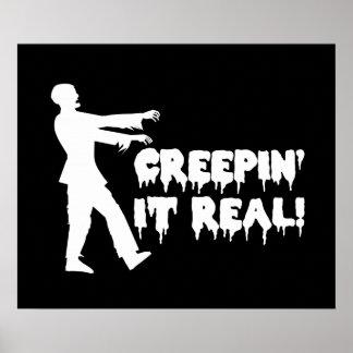 Creepin él zombi divertido real poster