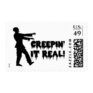 Creepin It Real Funny Zombie Stamp