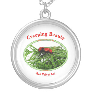 Creeping Beauty Red Velvet Ant Bug Round Pendant Necklace