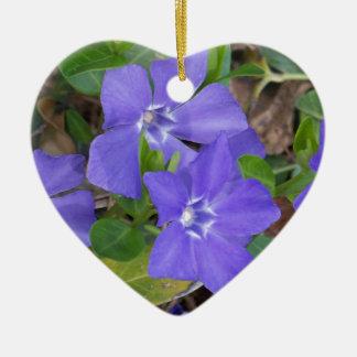 Creeping Blue Flowers Ceramic Ornament