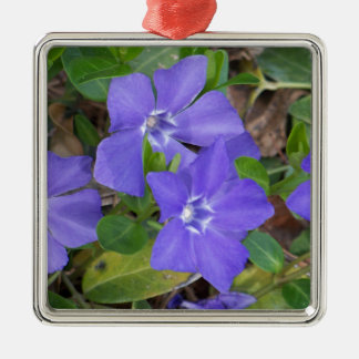 Creeping Blue Flowers Metal Ornament