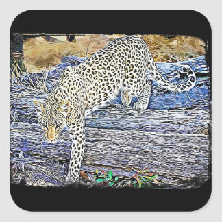 Creeping Leopard Black Stickers