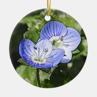 Creeping Speedwell (Veronica filiformis) Flowers Ceramic Ornament