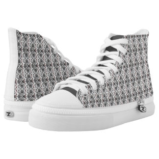 Creepwear Baroque HiTop sneaker, Black and White Printed Shoes