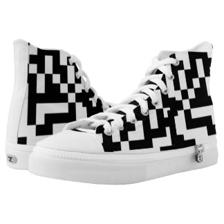 Creepwear NewCode HiTop sneaker, Black and White Printed Shoes