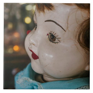 Creepy Antique Doll Ceramic Tile