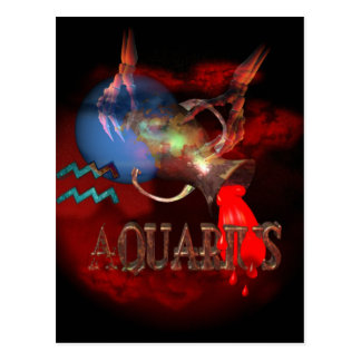 Creepy Aquarius zodiac astrology by Valxart.com Postcard
