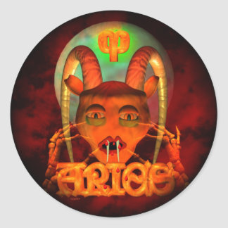 Creepy Aries zodiac horoscope by Valxart Round Stickers