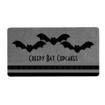 Creepy Bats Halloween Baking Labels, Light Gray Shipping Label
