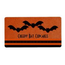 Creepy Bats Halloween Baking Labels, Orange Shipping Label