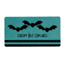 Creepy Bats Halloween Baking Labels, Teal Shipping Label