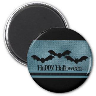 Creepy Bats Halloween Magnet, Dark Blue 2 Inch Round Magnet