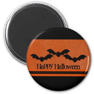 Creepy Bats Halloween Magnet, Orange 2 Inch Round Magnet