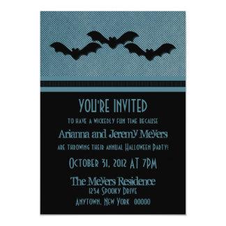 Creepy Bats Halloween Party Invite, Dark Blue Card