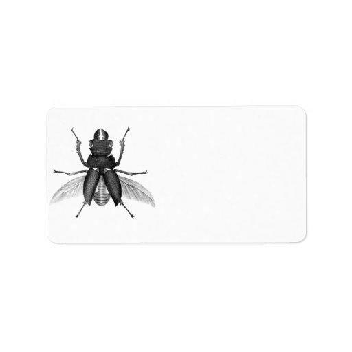 Creepy Beetle Bug with Scarey Pincher Mandibles Label