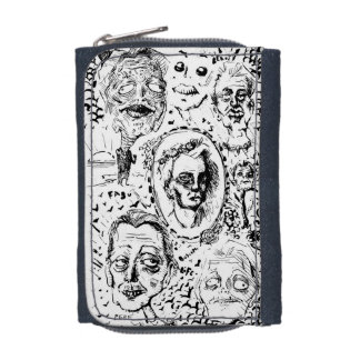 Creepy Bizarre Zombie Pen and Ink Drawing Wallet
