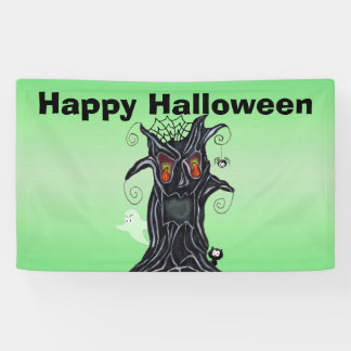 Creepy Black Halloween Tree With Evil Face Banner
