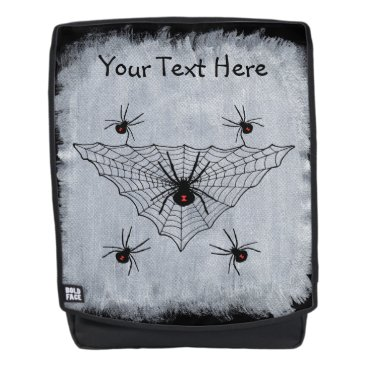 Halloween Themed Creepy black Widow spiders Web on Painted White Backpack