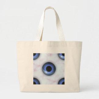creepy blue eyes large tote bag