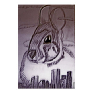 Creepy Bunny over the City Drawing Posters