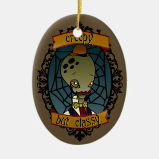 Creepy but Classy Alien (gentleman) Double-Sided Oval Ceramic Christmas Ornament